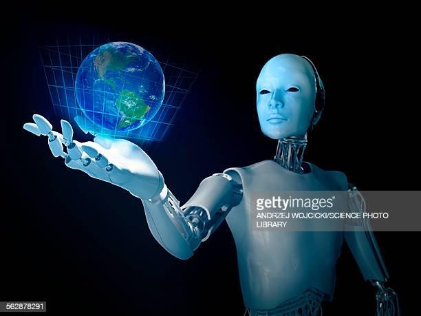 Robot holding Earth, illustration