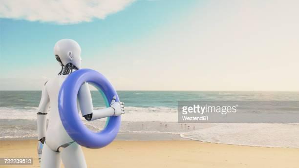 illustrations, cliparts, dessins animés et icônes de robot holding floating tire on the beach, 3d rendering - libre de droit