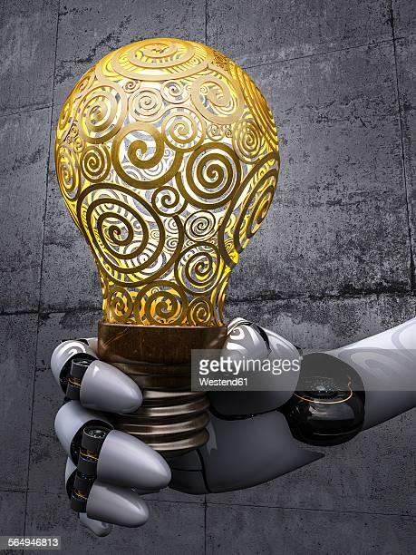 Robot holding lightbulb, 3d rendering