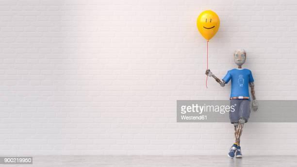 illustrations, cliparts, dessins animés et icônes de robot holding smiley balloon, 3d rendering - mur de briques