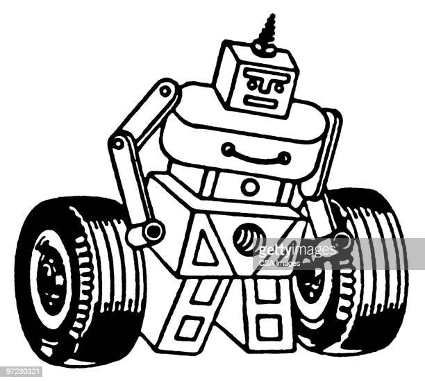 robot - two people stock illustrations