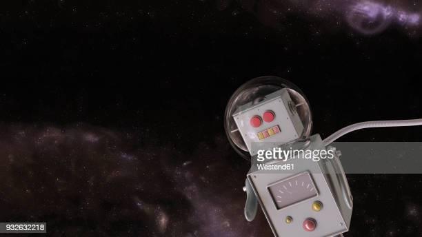 robot in the universe, 3d rendering - helmet stock illustrations