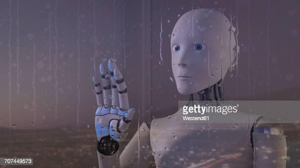robot looking out of rainy window - rain stock illustrations