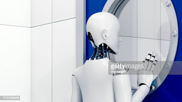 Robot looking through safety door, 3d rendering