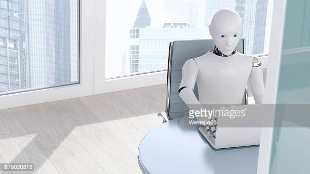 robot on laptop, 3d rendering - robot stock illustrations