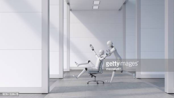 robot pushing a cheering friend on a chair through the office - automated stock illustrations