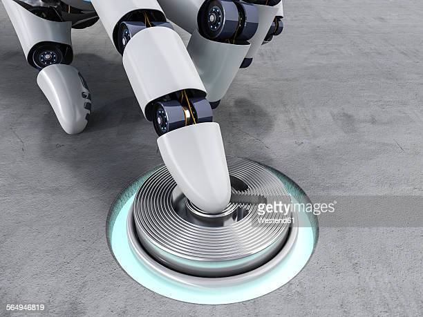 robot pushing button, 3d rendering - automated stock illustrations