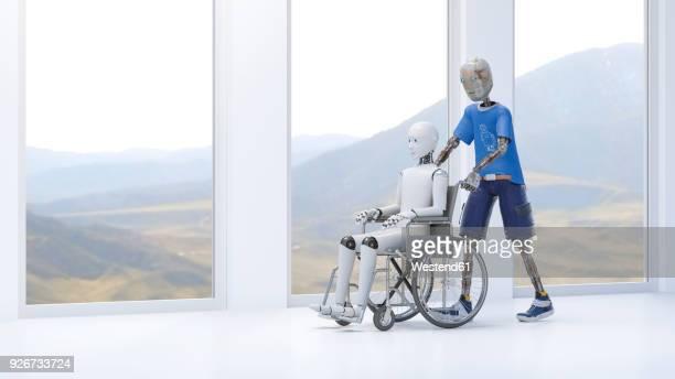 illustrations, cliparts, dessins animés et icônes de robot pushing patient in a wheel chair - maison de retraite