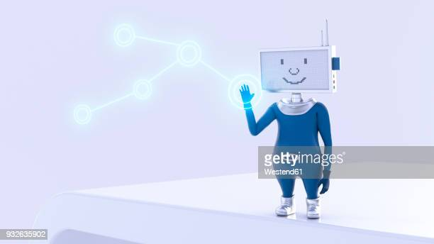 ilustraciones, imágenes clip art, dibujos animados e iconos de stock de robot pushing shining button, 3d rendering - figurine
