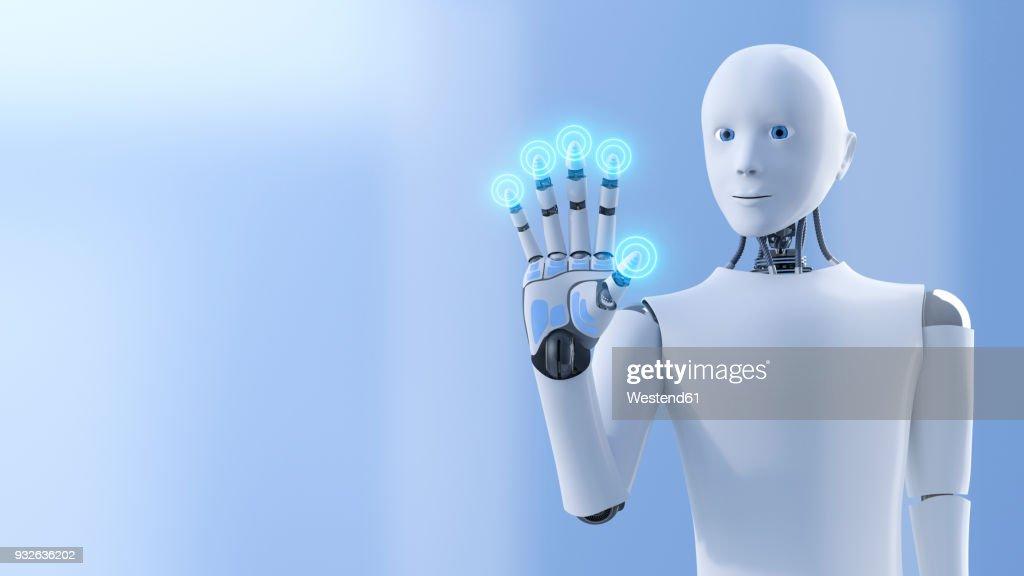 Robot pushing shining buttons, 3d rendering : Stock Illustration