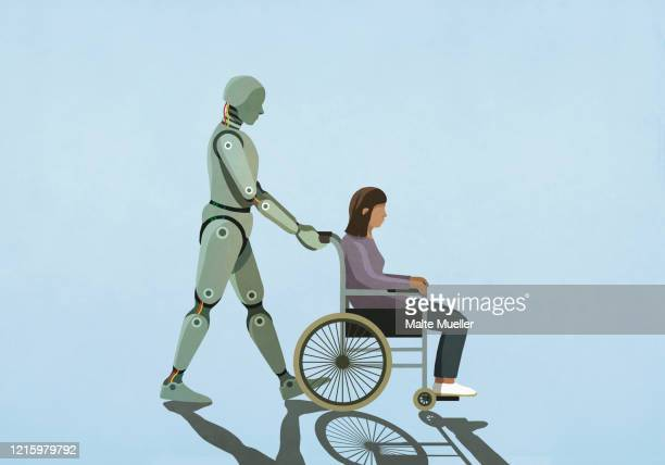 robot pushing woman in wheelchair - automated stock illustrations