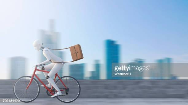 robot riding bicycle in front of skyline - automated stock illustrations