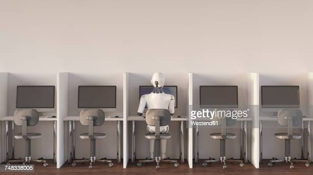 robot sitting in office, working alone - automated stock illustrations