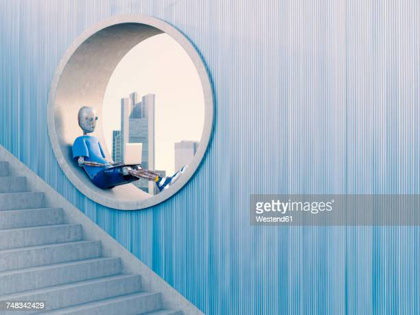 ilustraciones, imágenes clip art, dibujos animados e iconos de stock de robot sitting in round window using laptop, 3d rendering - movilidad urbana