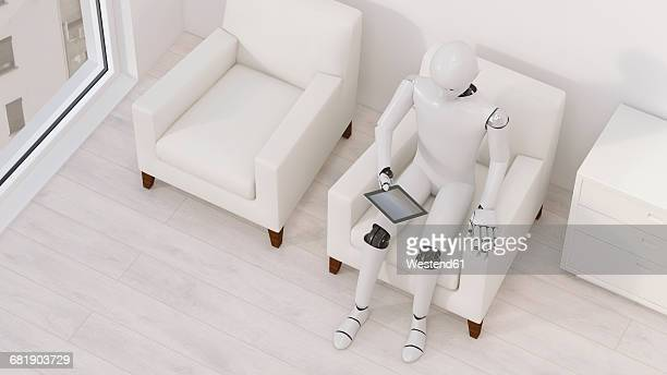 Robot sitting on armchair with tablet, 3D Rendering
