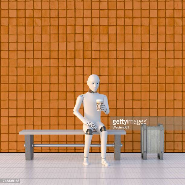 robot sitting on bench at platform, drinking coffee - automated stock illustrations