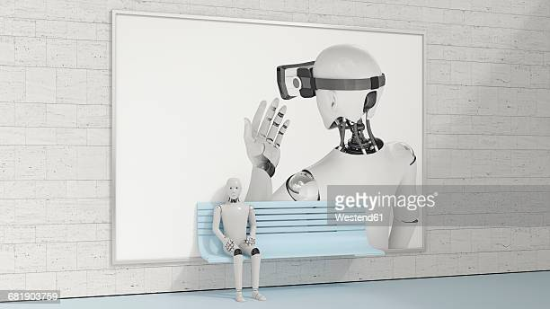 Robot sitting on bench in front of billboard, 3D Rendering