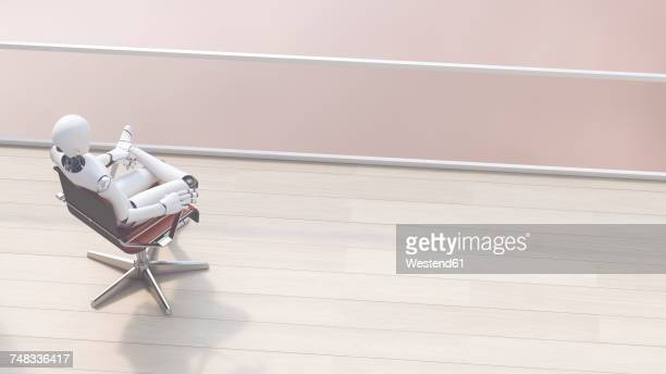 Robot sitting on office chair relaxing, 3d rendering
