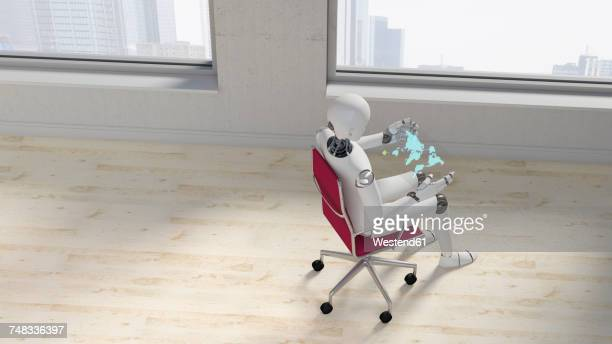 robot sitting on office chair using futuristic tablet, 3d rendering - loft apartment stock illustrations, clip art, cartoons, & icons