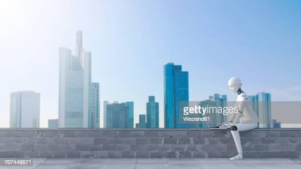 robot sitting on wall using laptop in front of skyline - automated stock illustrations