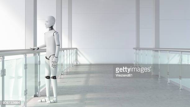 robot standing in empty room, waiting - robot stock illustrations