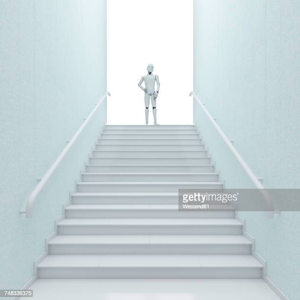 robot standing on top of stairs, 3d rendering - automated stock illustrations