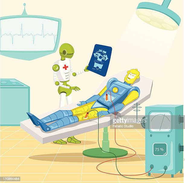Robot surgeon examining an x-ray of a robot patient