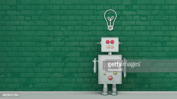 ilustraciones, imágenes clip art, dibujos animados e iconos de stock de robot under light bulb painted on brick wall, 3d rendering - robot