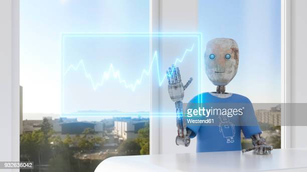 robot using digital tocuscreen with graph, 3d rendering - touch sensitive stock illustrations