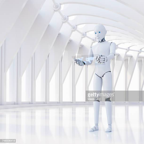 Robot using futuristic tablet, 3d rendering