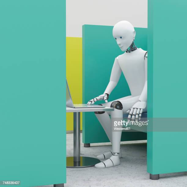 Robot using laptop in office cubicle, 3d rendering
