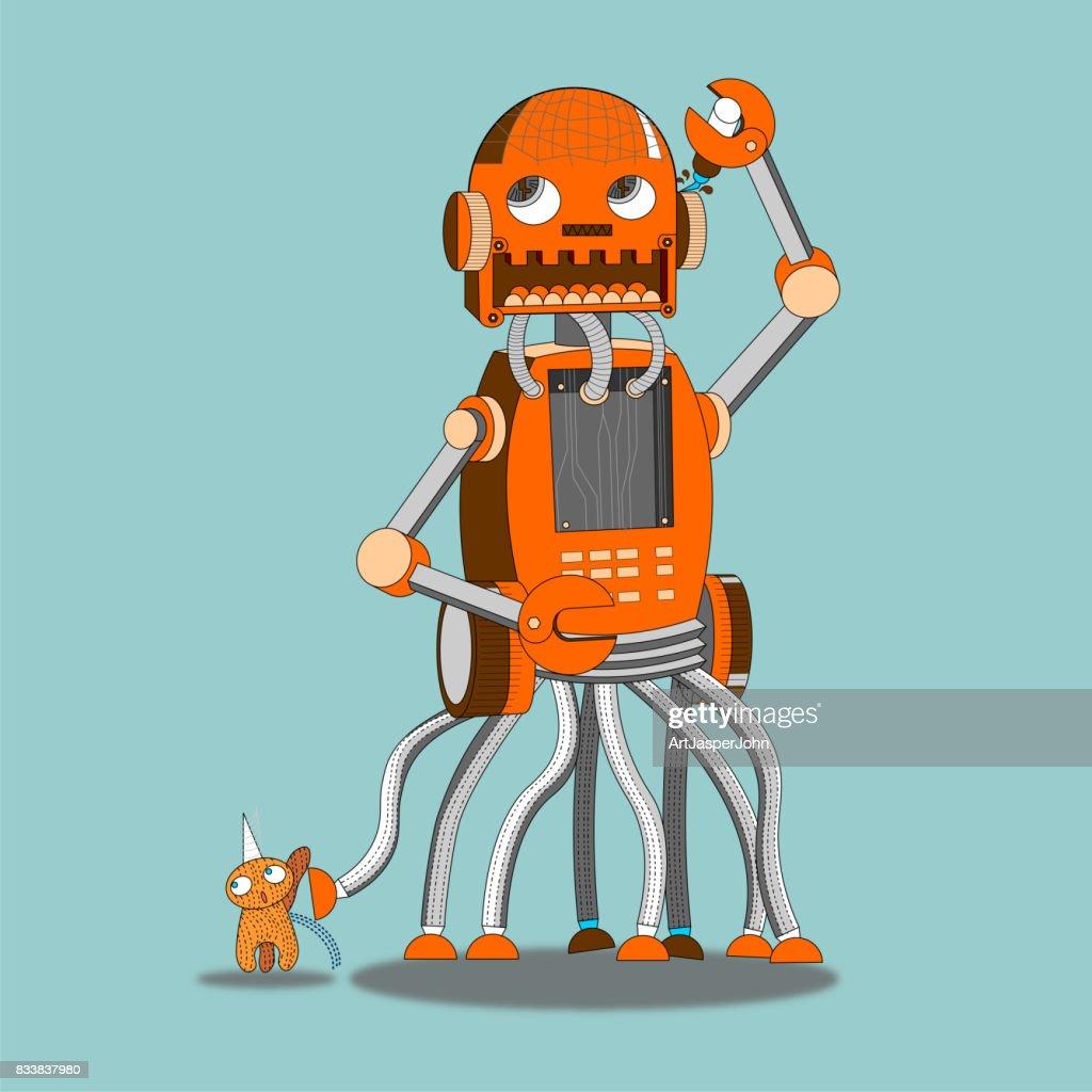 Robot walk a pet : stock illustration