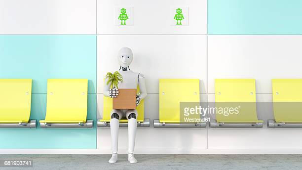 robot with cardboard box and potted plant sitting on a seat, 3d rendering - automated stock illustrations