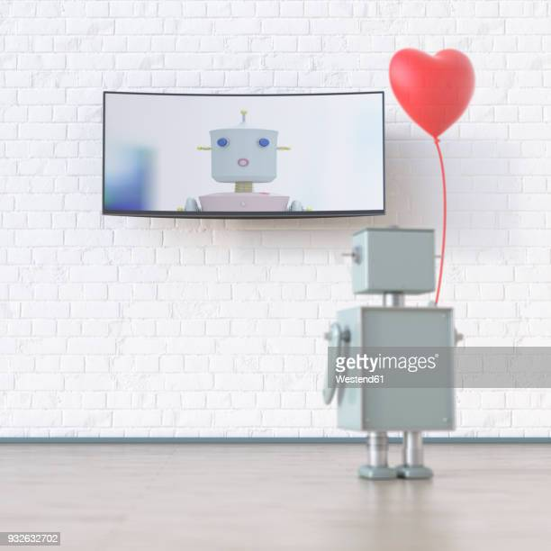 robot with heart-shaped balloon looking at screen with robot, 3d rendering - automated stock illustrations