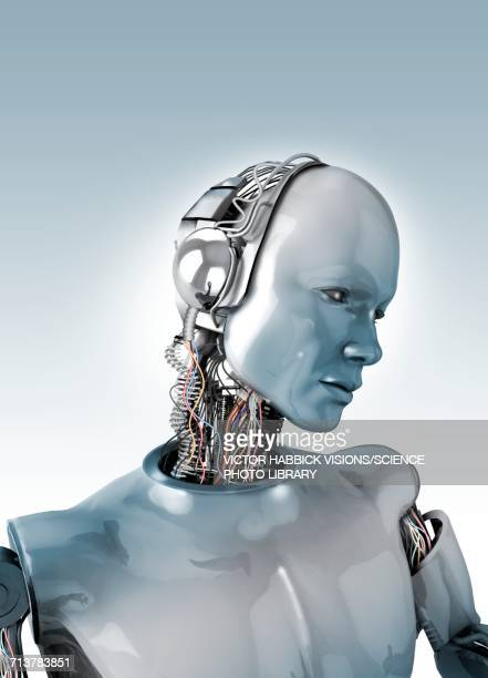 robot with wires in neck - robot stock illustrations
