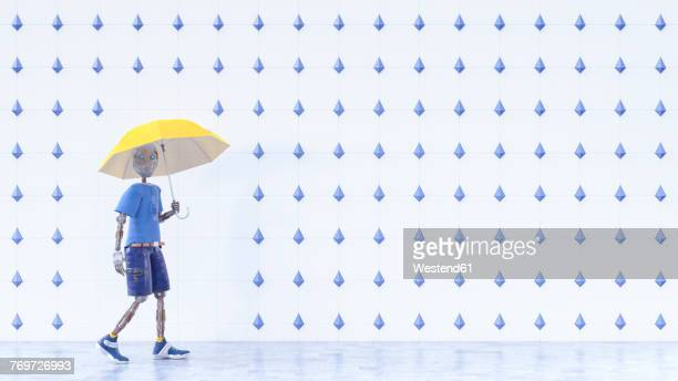 robot with yellow umbrella walking in the rain - rain stock illustrations