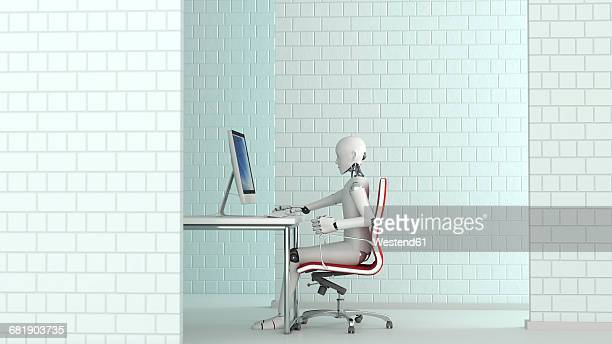 ilustraciones, imágenes clip art, dibujos animados e iconos de stock de robot working at desk, 3d rendering - robot