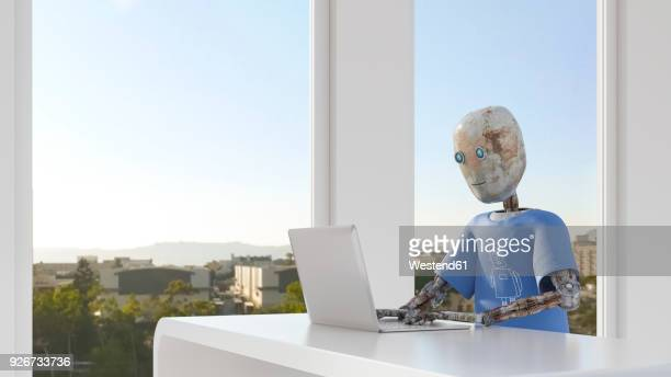 robot working in office, using laptop - automated stock illustrations