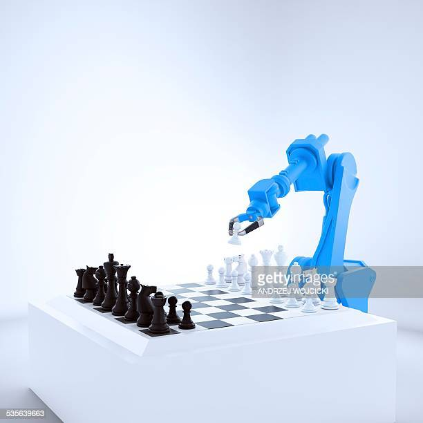 robotic arm playing chess, artwork - automated stock illustrations