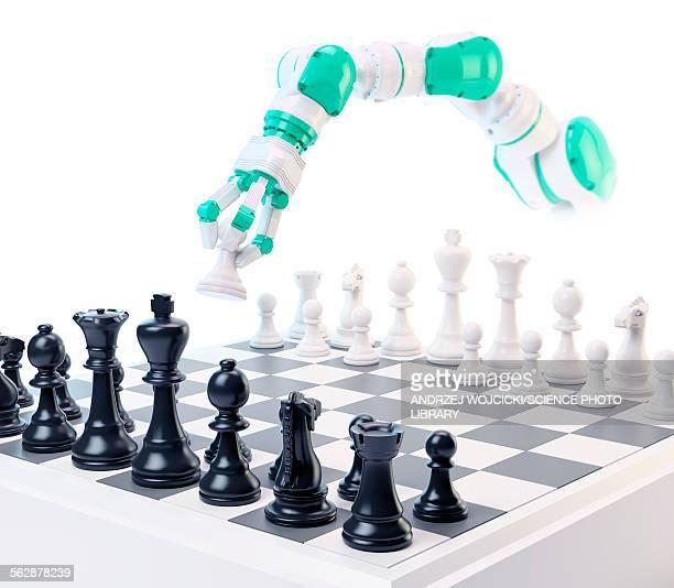 Robotic arm playing chess, illustration