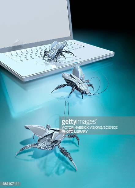 robotic bugs and a laptop, illustration - computer bug stock illustrations