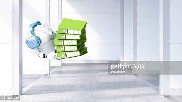 robotic drone carrying file stack, 3d rendering - paperwork stock illustrations