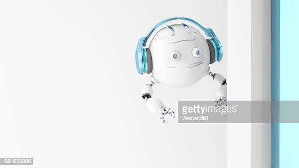 robotic drone wearing headphones looking around the corner, 3d rendering - robot stock illustrations