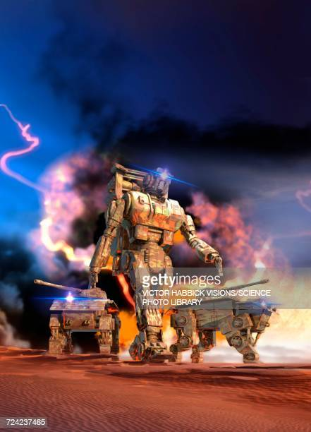 robotic figure and vehicles - victor habbick stock illustrations