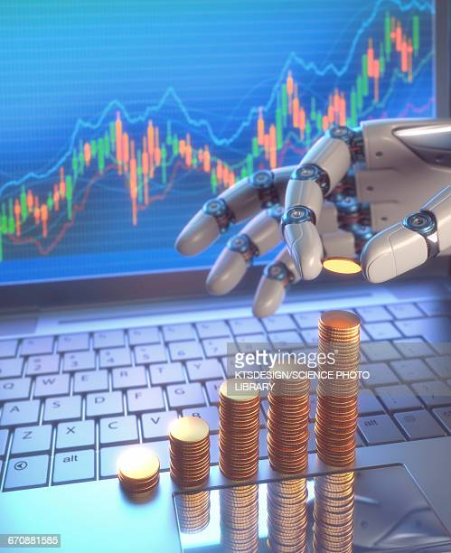 Robotic hand and coins, illustration