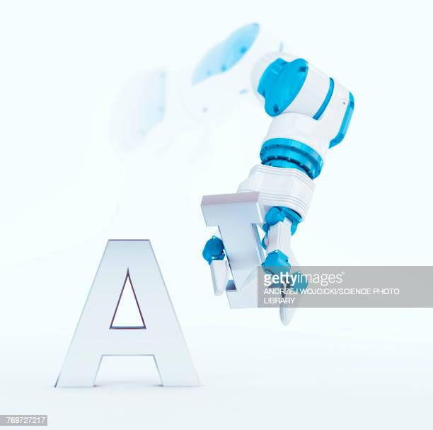 robotic hand and the letters a and i, illustration - the alphabet stock illustrations