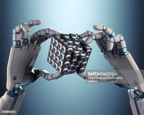 robotic hand holding cube, illustration - automated stock illustrations
