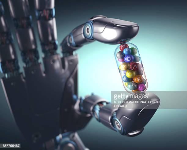 robotic hand holding multivitamin - artificial intelligence stock illustrations