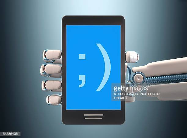 robotic hand holding phone, illustration - cyborg stock illustrations, clip art, cartoons, & icons