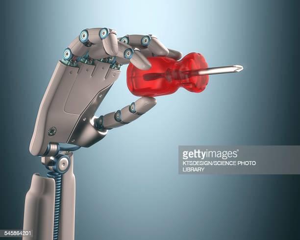 Robotic hand holding screwdriver
